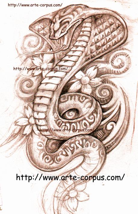 Dessin Tatouage Serpent graphisme : motif tatouage serpent